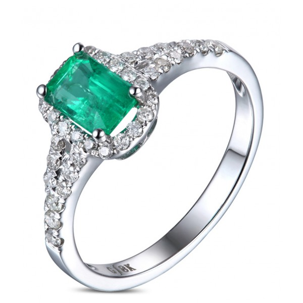 1.50 Carat Emerald and Diamond Halo Engagement Ring in White Gold for Her