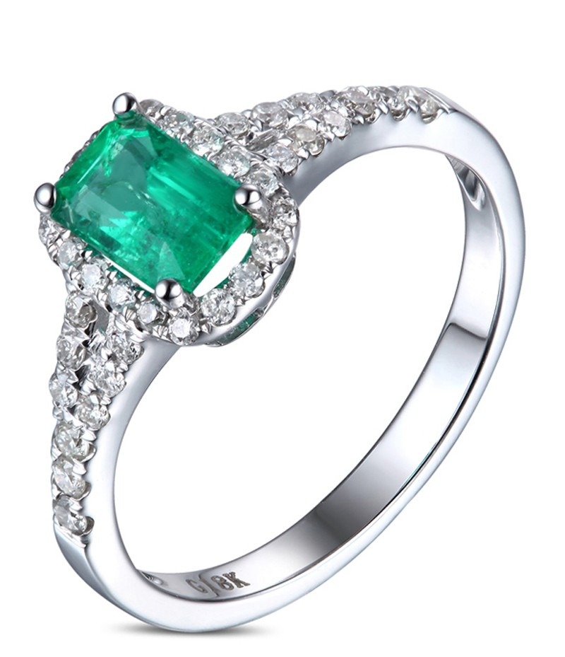 1 50 Carat Emerald and Diamond Halo Engagement Ring in White Gold for Her J