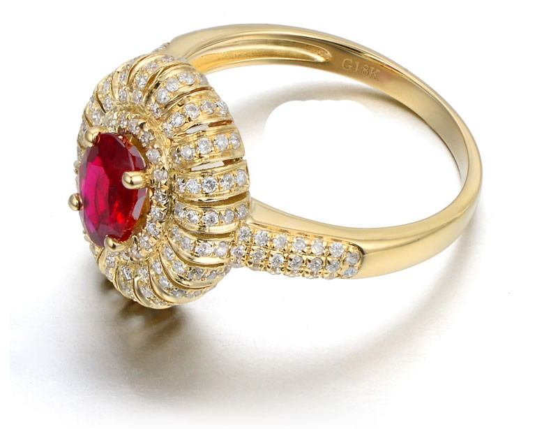 Designer 2 Carat Ruby And Diamond Luxurious Engagement Ring For
