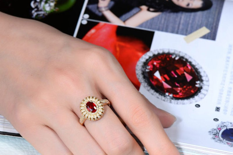 Designer 2 Carat Ruby And Diamond Luxurious Engagement Ring For Women
