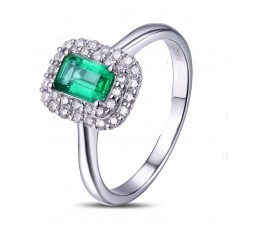 1.50 Carat Emerald and Diamond double Halo Engagement Ring in White Gold