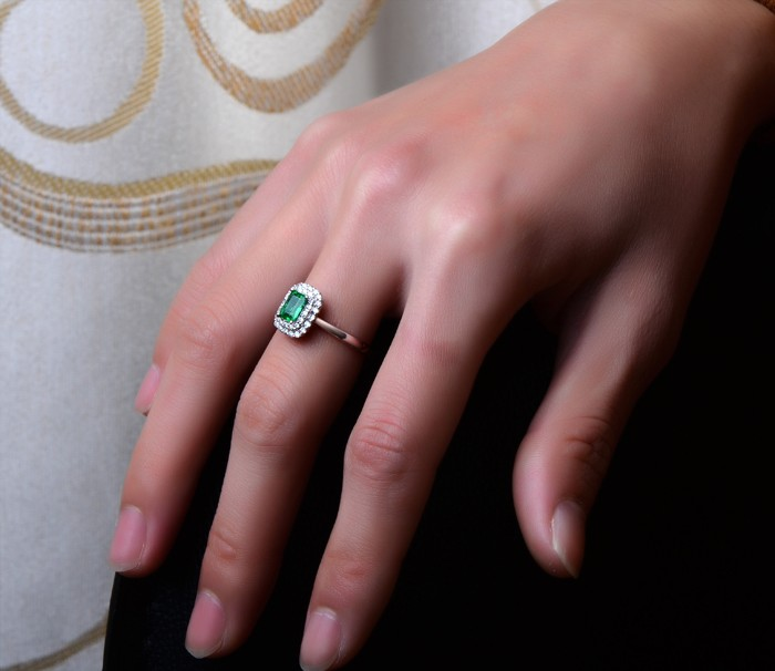 1 50 Carat Emerald And Diamond Double Halo Engagement Ring