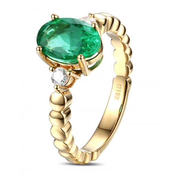 1 Carat Green Emerald And Diamond Trilogy Engagement Ring