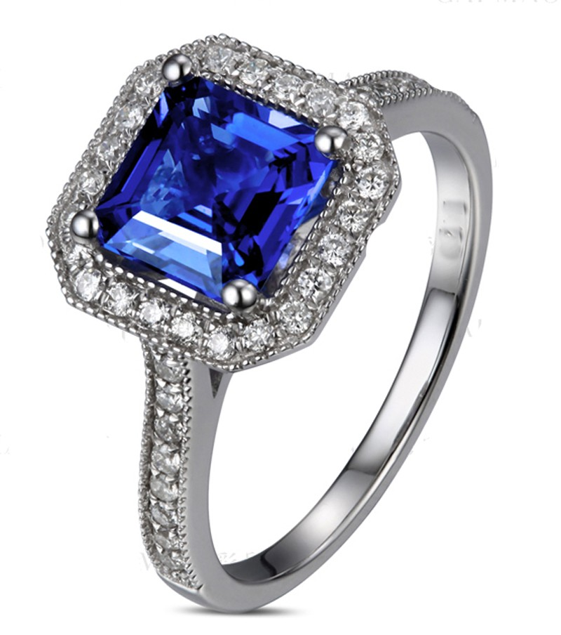 loose ring color blue index jewelry f diamond cushion amazing cut sapphire halo