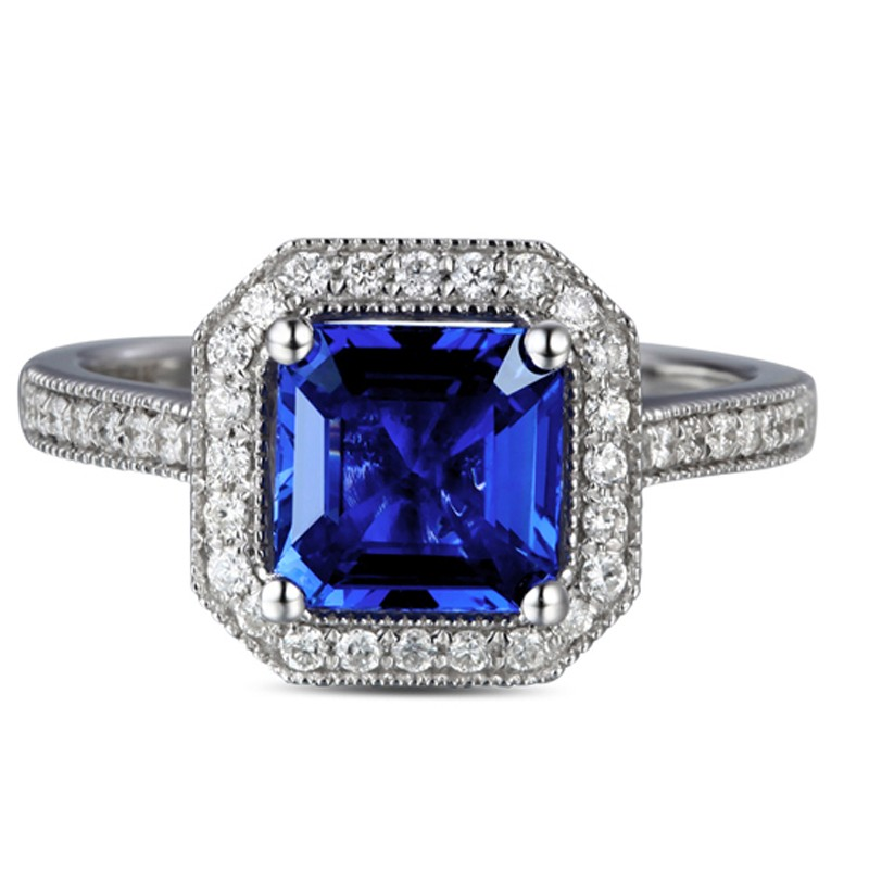 antique 1 carat princess cut sapphire and