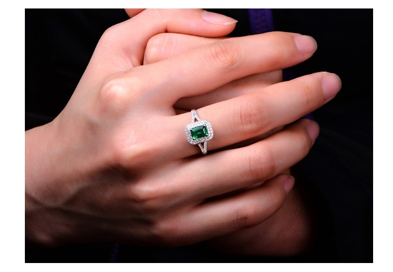 2 Carat Emerald And Diamond Engagement Ring In White Gold