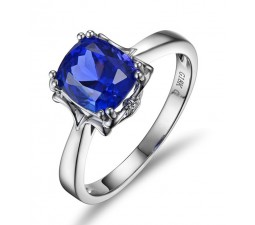 1 Carat cushion cut Blue Sapphrie Solitaire Unique Engagement Ring in White Gold