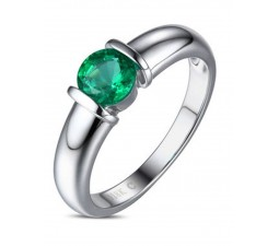 1 Carat Round Emerald Gemstone Solitaire Engagement Ring in White Gold