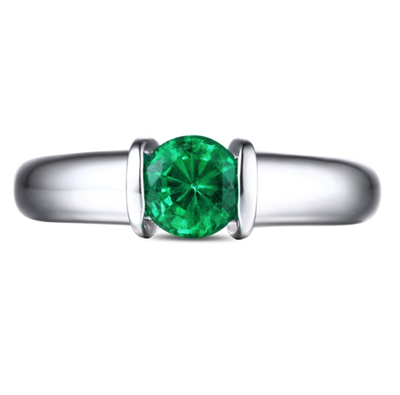 1 carat emerald gemstone solitaire engagement ring