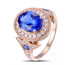 Designer Luxurious 2.50 Carat Sapphire and Diamond Engagement Ring in Rose Gold