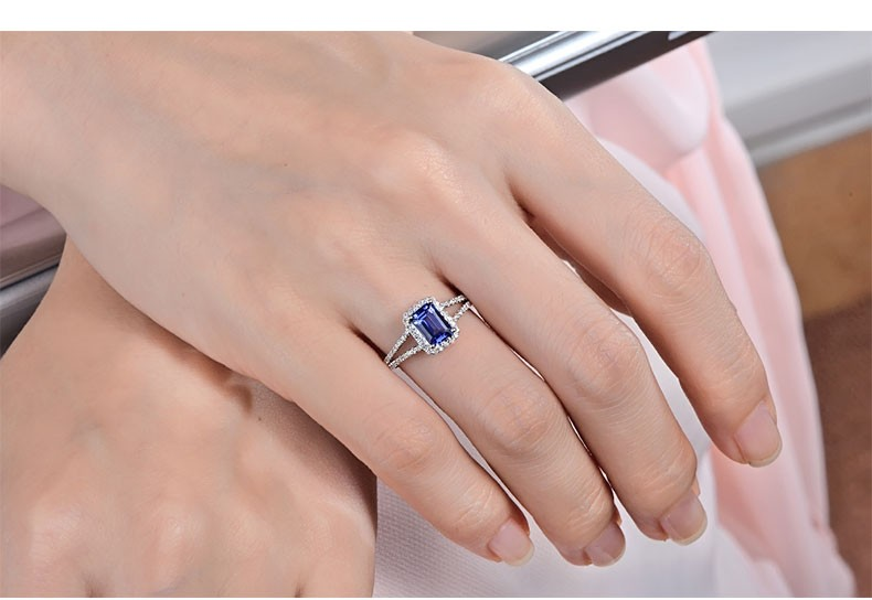 1 50 Carat Blue Shire And Diamond Halo Engagement Ring For Women In White Gold