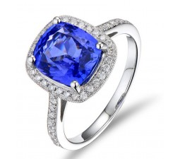 Antique 1.50 Carat cushion cut Sapphire and Diamond Halo Engagement Ring in White Gold