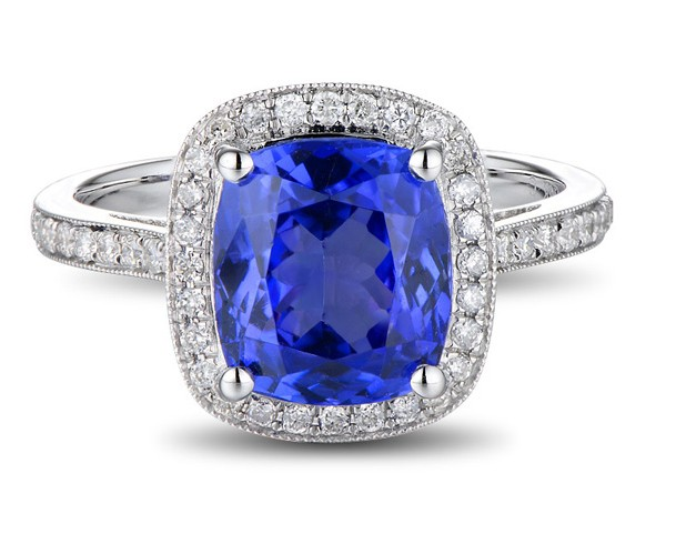 Antique 1 50 Carat cushion cut Sapphire and Diamond Halo Engagement Ring in W