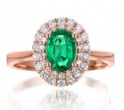 2 Carat Emerald and Diamond Halo Engagement Ring in Rose Gold