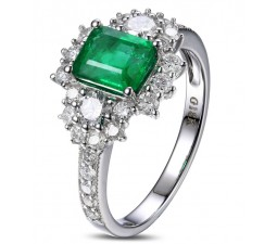 2 Carat beautiful Emerald and Diamond Engagement Ring for Women in White Gold