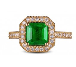 Bestselling Antique 1 Carat princess cut Emerald and Diamond Engagement Ring in Yellow Gold