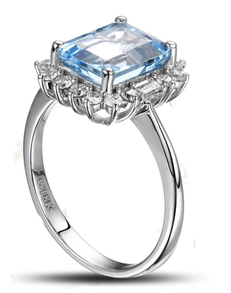 Beautiful 1 50 Carat Blue Topaz And Diamond Halo