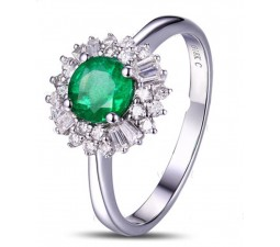 1 Carat Green Emerald and Diamond Halo Engagement Ring for Women in White Gold