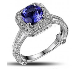 Closeout Sale: Bestselling 1.50 Carat Antique Halo Engagement Ring with Blue Sapphires and Diamond in White Gold