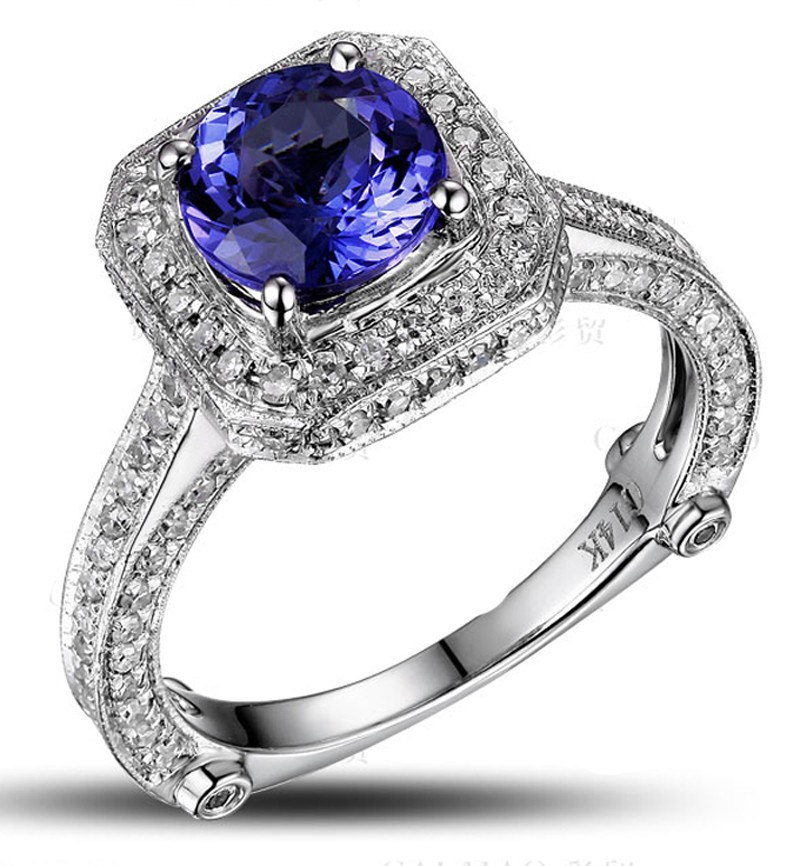 Closeout Sale: Bestselling 1.50 Carat Antique Halo Engagement Ring With  Blue Sapphires And Diamond In White Gold.