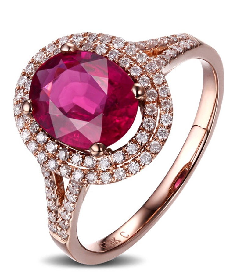 2 Carat Pink Sapphire and Diamond Halo Engagement Ring in Rose Gold for Women