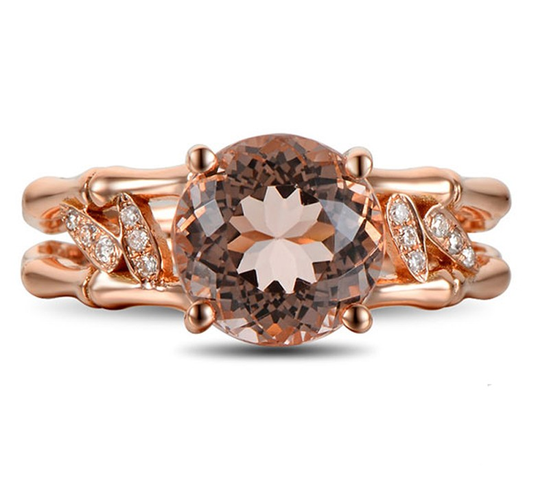 2 25 Carat Morganite and Diamond Halo Engagement Ring on 10k Rose Gold Jeen