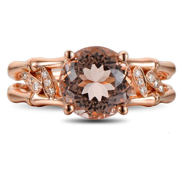 2 25 Carat Morganite and Diamond Halo Engagement Ring on 10k Rose Gold Jeen