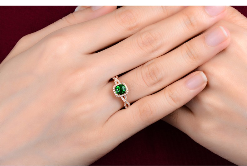 Stunning ring for newlyweds Emerald and diamond gold engagement rings