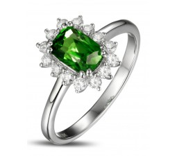 1.50 Carat perfect Emerald and Diamond Halo Engagement Ring for Women in White Gold