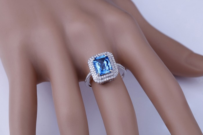 ... Designer 2 Carat emerald cut Sapphire and Diamond Double Halo Engagement  Ring for Women ...