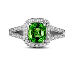 Beautiful 2 Carat cushion cut Emerald and Diamond Halo Engagement Ring in White Gold
