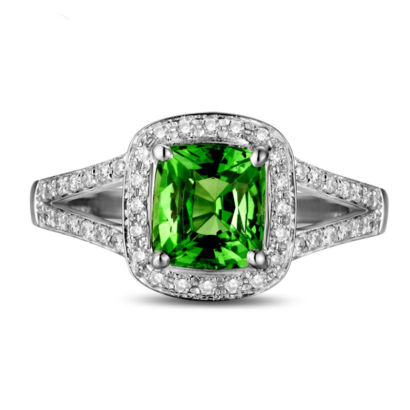 Beautiful 2 Carat cushion cut Emerald and Diamond Halo Engagement Ring in Whi