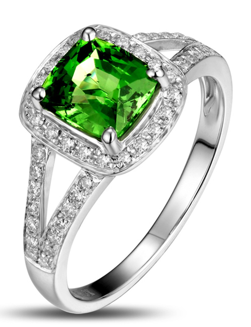 Beautiful 2 Carat cushion cut Emerald and Diamond Halo Engagement ...