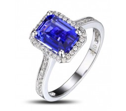Antique 1.50 Carat emerald cut Blue Sapphire and Diamond Halo Engagement Ring in White Gold