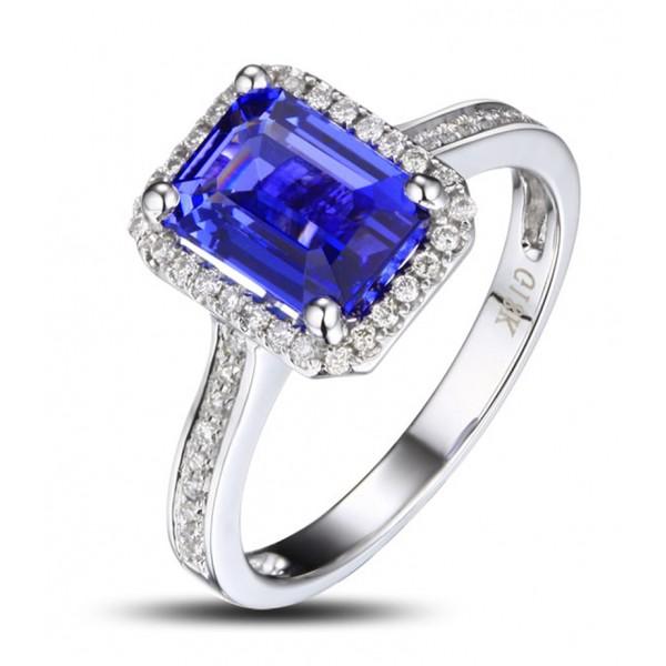 antique 1 50 carat emerald cut blue sapphire and