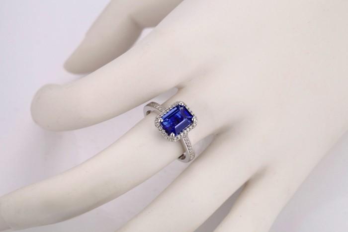 Antique 1 50 Carat Emerald Cut Blue Sapphire And Diamond