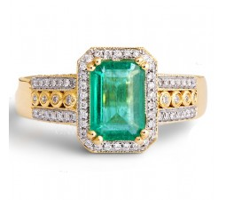 Vintage 1.50 Carat Emerald and Diamond Engagement Ring for Women in Yellow Gold