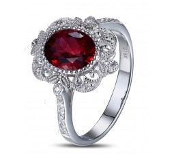 Vintage 1.50 Carat Ruby and Diamond Engagement Ring in White Gold for Women