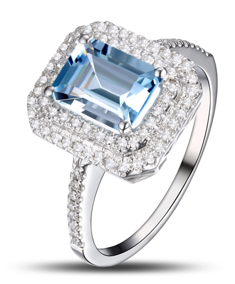 2 Carat Topaz and Diamond double halo engagement ring in White Gold JeenJewels