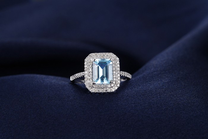 2 Carat Topaz And Diamond Double Halo Engagement Ring In