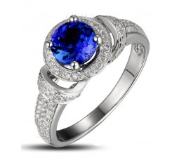 Vintage 1.50 Carat Blue Sapphire and Diamond Art Nouveau Engagement Ring in 10k White Gold