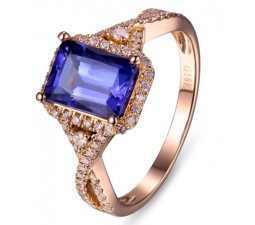 Beautiful 2 Carat Blue Sapphire and Diamond Engagement Ring in Rose Gold