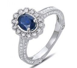 Sale Antique Floral 1 Carat Blue Sapphire and Diamond Engagement Ring for Her in White Gold