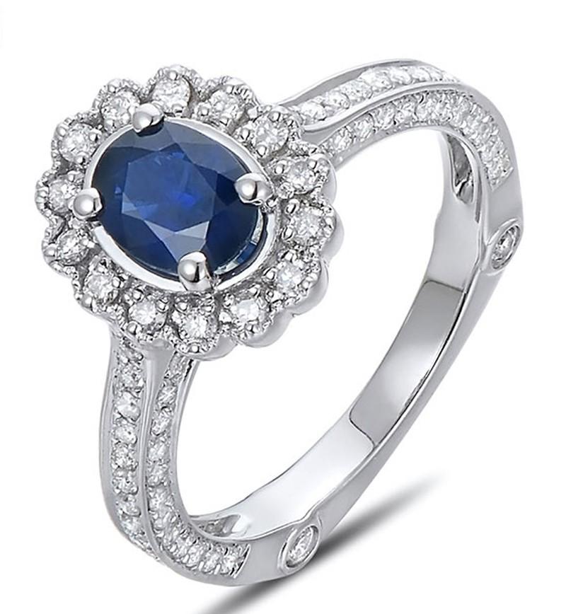 Sale Antique Floral 1 Carat Blue Sapphire And Diamond