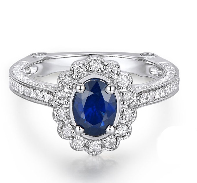Sale Antique Floral 1 Carat Blue Sapphire and Diamond Engagement Ring for Her