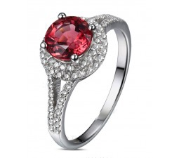 1 Carat Round cut Red Ruby and Diamond Halo Engagement Ring in White Gold for Women