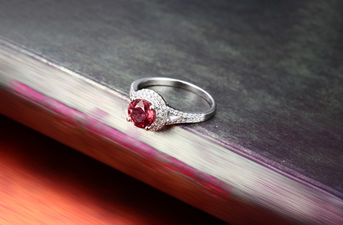 1 Carat Round Cut Red Ruby And Diamond Halo Engagement