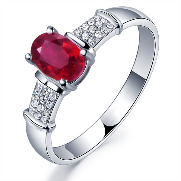 Ruby with Diamond Engagement Ring on 10k White Gold JeenJewels
