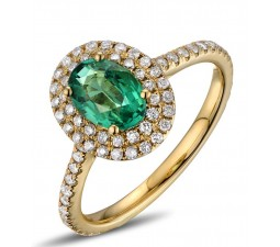 Vintage 2 Carat Emerald and Diamond Double Halo Engagement Ring in Yellow Gold