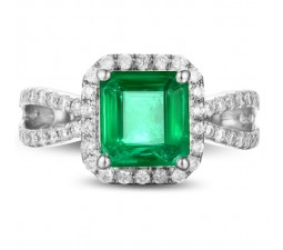 1 Carat princess cut Emerald and Diamond Halo Engagement Ring in White Gold
